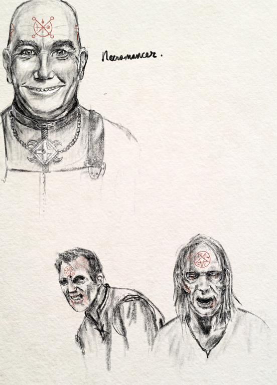 an illustration of a crazed necromancer and zombies