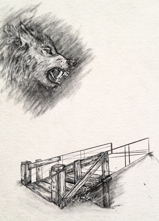an illustration of a wolf and a wooden bridge