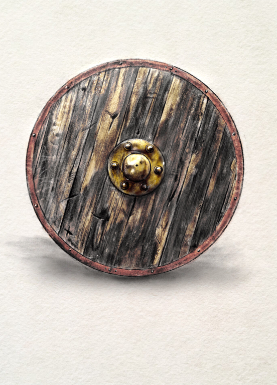 an illustration of a wooden shield