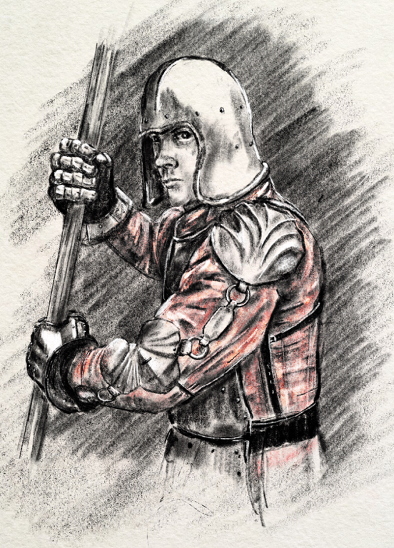 an illustration of a man in a helmet holding a staff