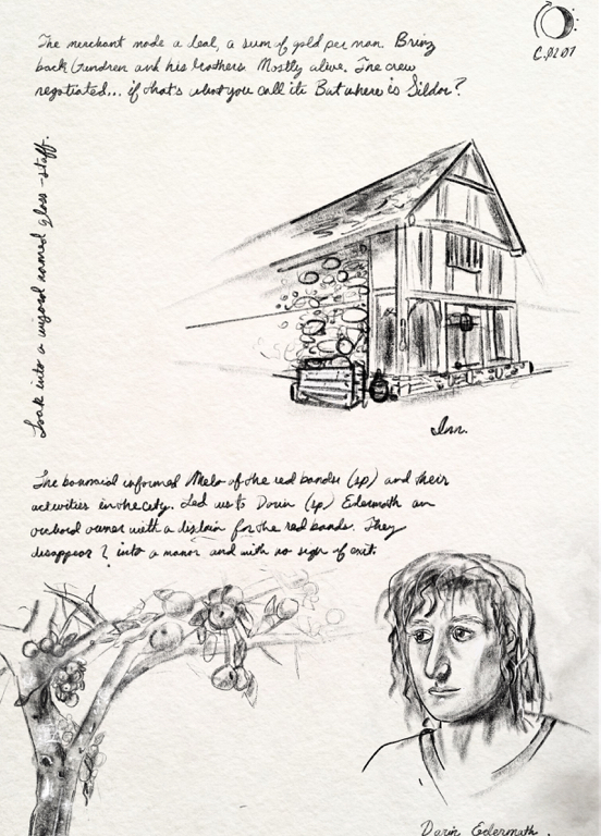 an illustration of a house, an apple tree and a man with curly hair