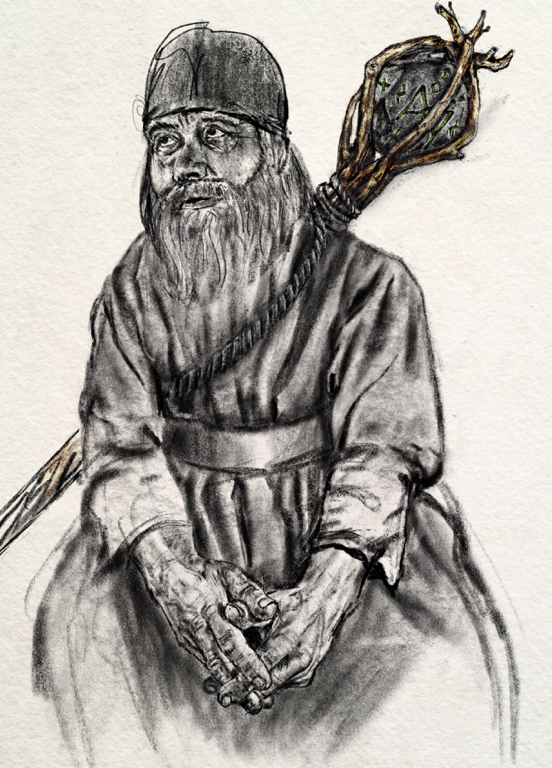 an illustration of an old druid man with a staff