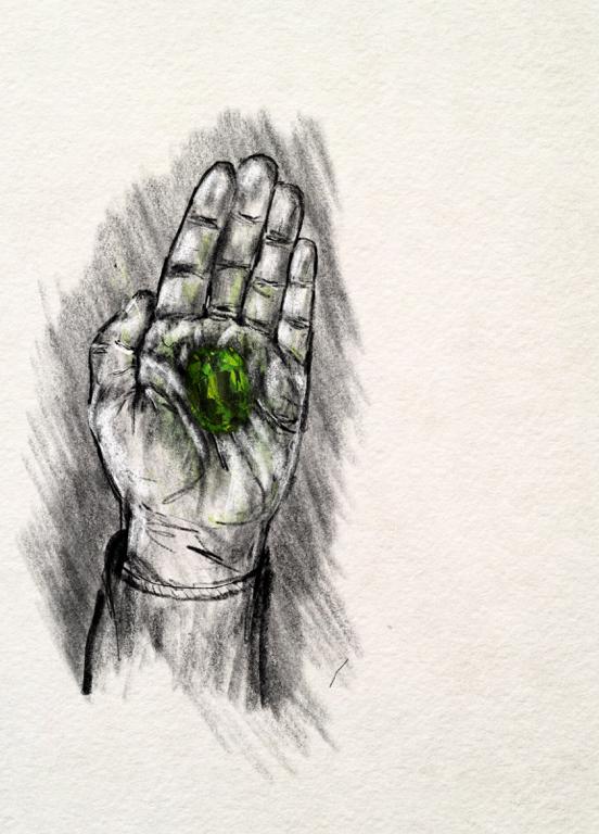 illustration of a hand holding a gem