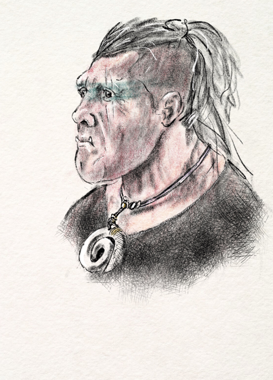 an illustration of a red half-orc man