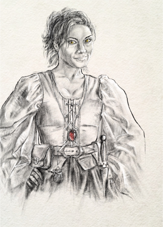 an illustration of a woman with a red ruby and a dagger